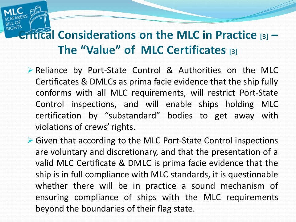 Critical Considerations on the MLC in Practice [3] – The Value of MLC Certificates [3]